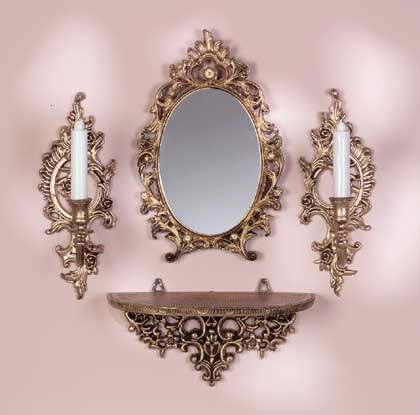Baroque mirror candle sconces for Plastic baroque mirror